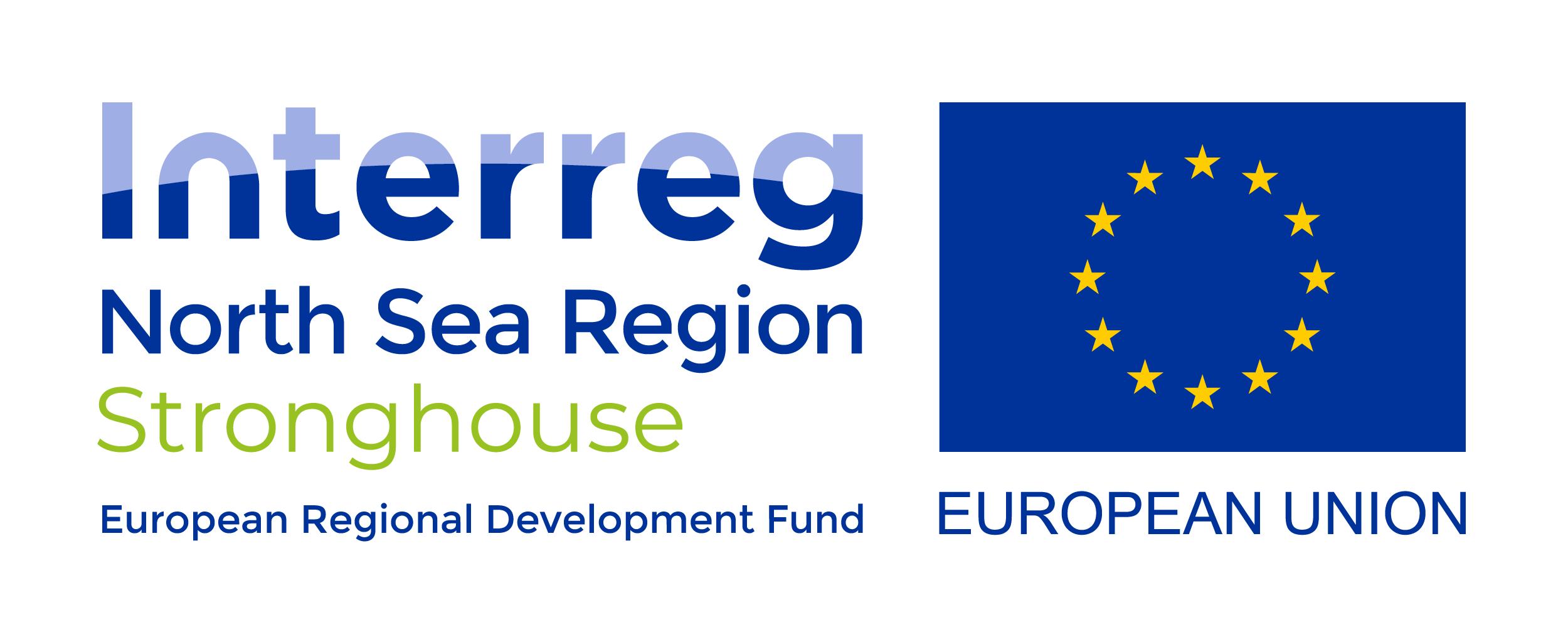 Het logo van het Interreg North Sea Region Stronghouse en het logo van de Europese Unie